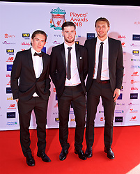 LIVERPOOL, ENGLAND - Thursday, May 10, 2018: Liverpool Under-23 players Harry Wilson, Corey Whelan and Nathaniel Phillips arrives on the red carpet for the Liverpool FC Players' Awards 2018 at Anfield. (Pic by David Rawcliffe/Propaganda)