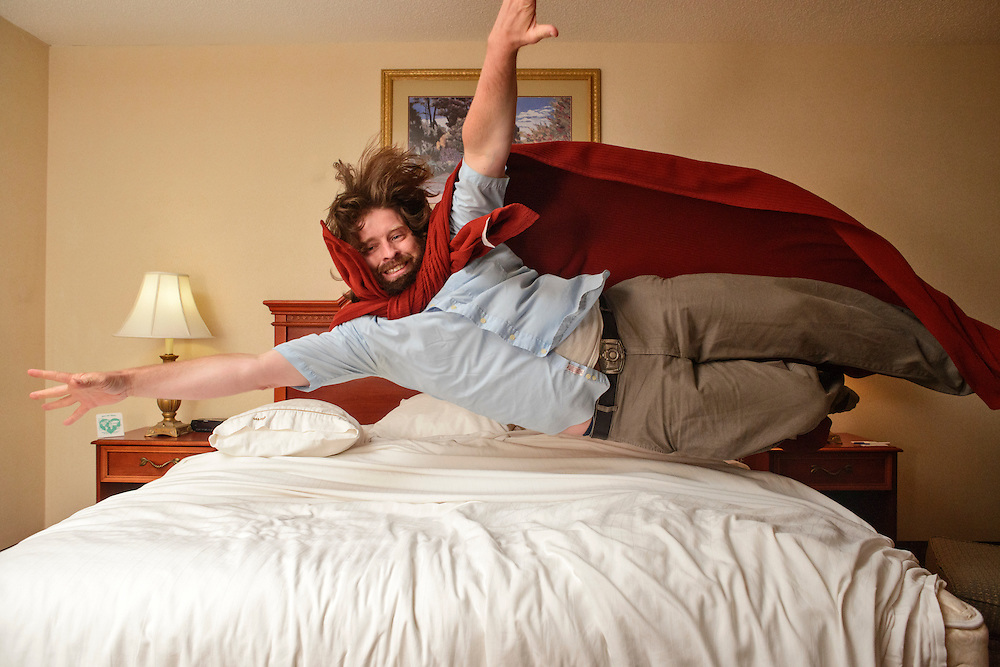 Photo by Matt Roth<br /> <br /> Jumping on my hotel bed at the Holiday Inn Express in Harrington, Delaware on Tuesday, June 04, 2013.