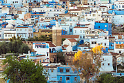 CHEFCHAOUEN, MOROCCO - 27th APRIL 2016 - Urban cityscape view of the Chefchaouen Medina - the blue city - Rif Mountains, Northern Morocco.