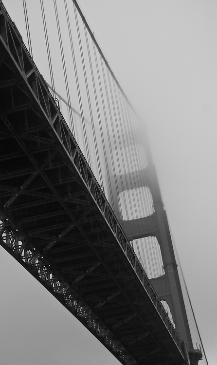 Foggy Golden Gate Bridge (b/w)