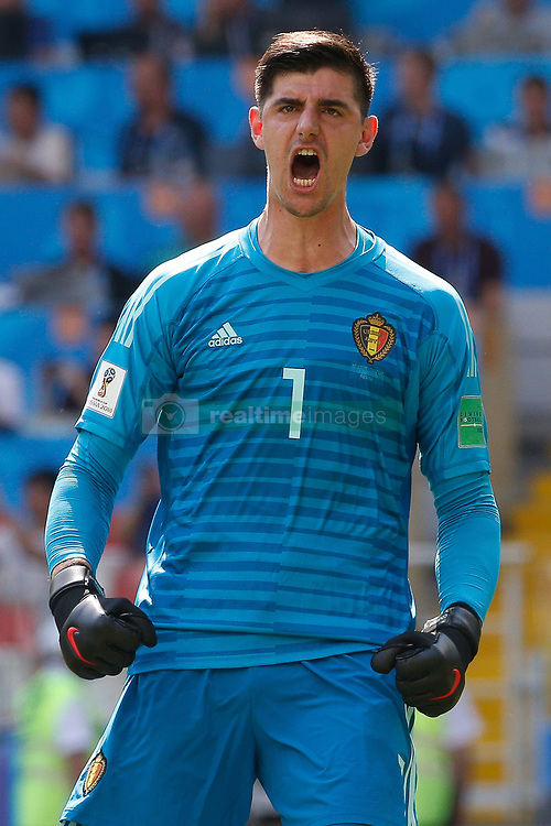June 23, 2018 - Moscou, Rússia - MOSCOU, MO - 23.06.2018: BÉLGICA Y TÚNEZ - Belgian striker Thibaut Courtois celebrates Belgium&# Eden Hazarazardl in a penalty shoot-out during a match betwbetween Belgium and Tunisia for the second round of Group G of the 2018 World Cup at the Otkrytie Arena in Moscow, Russia. (Credit Image: © Marcelo Machado De Melo/Fotoarena via ZUMA Press)