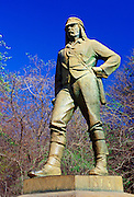Statue of explorer David Livingstone on Zambezi River at Victoria Falls in Zimbabwe, Africa