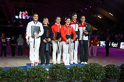 Podium Individual vaulting Female <br /> 1 Jaiser Simone, (SUI), Blieske Rita<br /> 2 Musset Anne-Sophie, (FRA), Agnus Daniele<br /> 3 Boe Kristine, (GER), Nawroth Ines<br /> Vlaanderen Kerstjumping - Memorial Eric Wauters - <br /> Mechelen 2015<br /> © Hippo Foto - Dirk Caremans<br /> 26/12/15
