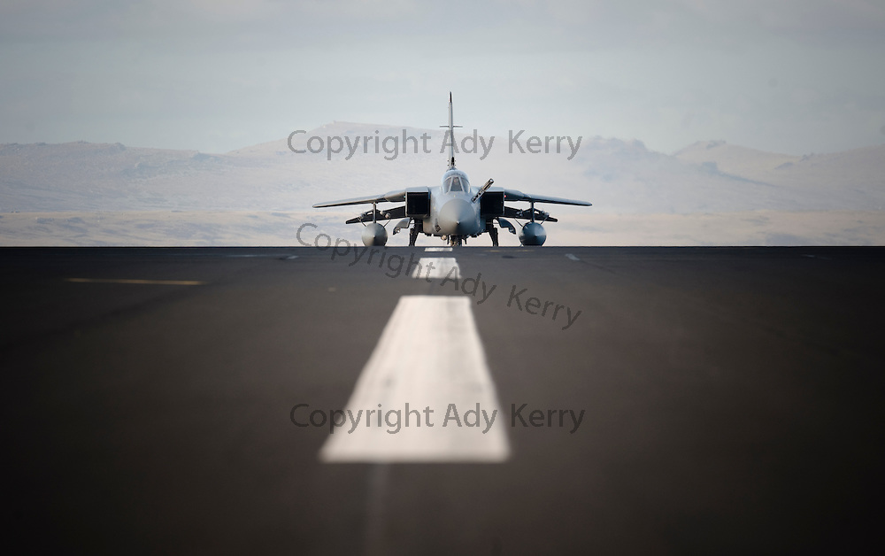 A Tornado F3 QRA aircraft taxis along the runway at RAF Mount Pleasant, Falkland Islands, 16th September 2009.