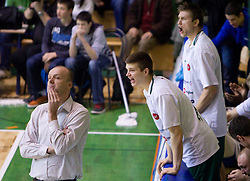 Head coach of Olimpija Jure Zdovc, Dino Muric and Vladimer Boisa during basketball match between KK Krka (SLO) and Union Olimpija (SLO) in 16th Round of NLB Adriatic League, on January 11, 2011 in Arena Leona Stuklja, Novo mesto, Slovenia. Olimpija defeated Krka 80-75. (Photo By Vid Ponikvar / Sportida.com)