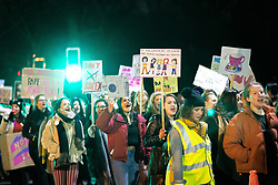 © Licensed to London News Pictures . 22/02/2018 . Manchester , UK . 100s of protesters , campaigning against the sexual harassment, abuse, rape and victim-blaming suffered by women, hold a Reclaim the Night march and rally from Owens Park in Fallowfield to the Manchester Academy on Oxford Road . Photo credit : Joel Goodman/LNP