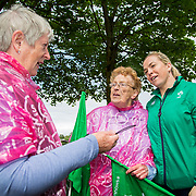 27.07.17.          <br /> Ireland Women's Rugby captain Niamh Briggs was mobbed by young fans in Limerick earlier today (Thursday) as she arrived in the city by boat for the Women's Rugby World Cup trophy tour.<br /> <br /> Sharing a laugh at the event were, Margaret Grehan, Granville Park Limerick, Ann Tierney and reland Women's Rugby captain Niamh Briggs.<br /> <br /> <br />  The Limerick based garda and Munster fullback was escorted on the River Shannon by Limerick Marine Search and Rescue along with Nevsail kayakers as she made her way to Arthur's Quay jetty to be officially met by Mayor of Limerick, Cllr Stephen Keary. Picture: Alan Place