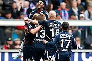 Onderwerp/Subject: Willem II - Eredivisie<br /> Reklame:  <br /> Club/Team/Country: <br /> Seizoen/Season: 2012/2013<br /> FOTO/PHOTO: Aurelien JOACHIM (L) of Willem II celebrating his goal with Virgil MISIDJAN (TOP) of Willem II and Ricardo IPPEL (C) of Willem II and Danny GUIJT (R) of Willem II and Jeroen LUMU (RR) of Willem II ( 2 - 2 ). (Photo by PICS UNITED)<br /> <br /> Trefwoorden/Keywords: <br /> #02 $94 ±1355241558607<br /> Photo- & Copyrights © PICS UNITED <br /> P.O. Box 7164 - 5605 BE  EINDHOVEN (THE NETHERLANDS) <br /> Phone +31 (0)40 296 28 00 <br /> Fax +31 (0) 40 248 47 43 <br /> http://www.pics-united.com <br /> e-mail : sales@pics-united.com (If you would like to raise any issues regarding any aspects of products / service of PICS UNITED) or <br /> e-mail : sales@pics-united.com   <br /> <br /> ATTENTIE: <br /> Publicatie ook bij aanbieding door derden is slechts toegestaan na verkregen toestemming van Pics United. <br /> VOLLEDIGE NAAMSVERMELDING IS VERPLICHT! (© PICS UNITED/Naam Fotograaf, zie veld 4 van de bestandsinfo 'credits') <br /> ATTENTION:  <br /> © Pics United. Reproduction/publication of this photo by any parties is only permitted after authorisation is sought and obtained from  PICS UNITED- THE NETHERLANDS