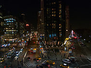 Columbus Circle at night.