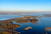 Nederland, Zuid-Holland, Goeree-Overflakkee, 07-02-2018; Hellegatsplaten, ontstaan door de aanleg van de Hellegatsdam, maakt deel uit van de Volkerakwerken (onderdeel van de Deltawerken). Het natuurgebied wordt begraasd door wilde paarden en heckrunderen. Aan de horizon Hellegatsplein en Hollands Diep, links water van het Haringvliet, rechts Volkerak.<br /> Nature area, result of dam build as part of the Deltaworks.<br /> luchtfoto (toeslag op standard tarieven);<br /> aerial photo (additional fee required);<br /> copyright foto/photo Siebe Swart