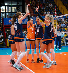02-08-2019 ITA: FIVB Tokyo Volleyball Qualification 2019 / Belgium - Netherlands, Catania<br /> 1e match pool F in hall Pala Catania between Belgium - Netherlands. Netherlands win 3-0 / Myrthe Schoot #9 of Netherlands, Anne Buijs #11 of Netherlands