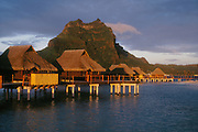 Bora Bora Lagoon Resort, Tahiti: bungalows on lagoon, Mount Pahia behind..