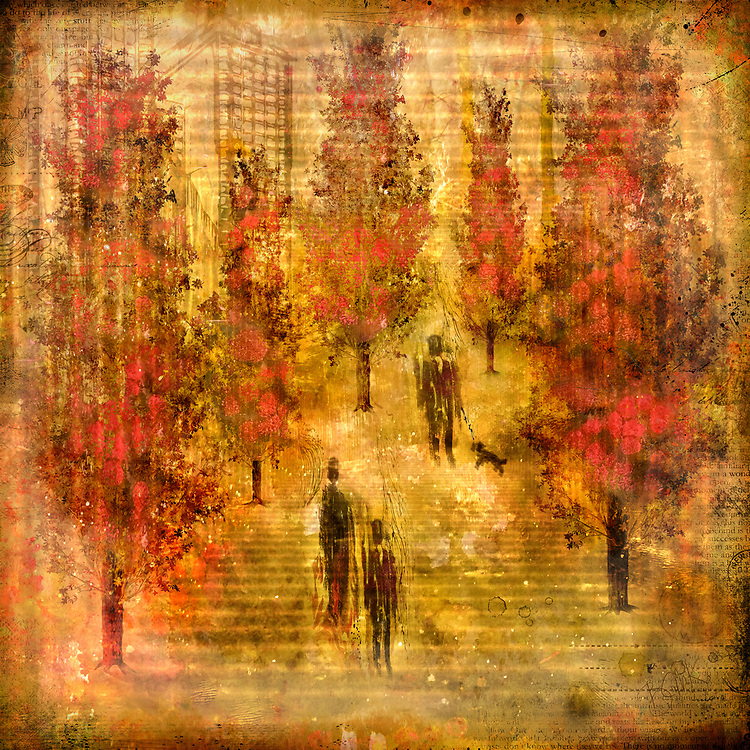 Abstract figures walking among red vertical trees situated within yellow concentric squares