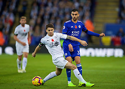 LEICESTER, ENGLAND - Saturday, November 10, 2018: Burnley's Robbie Brady (L) challenges Leicester City's Rachid Ghezzal during the FA Premier League match between Leicester City FC and Burnley FC at the King Power Stadium. (Pic by David Rawcliffe/Propaganda)