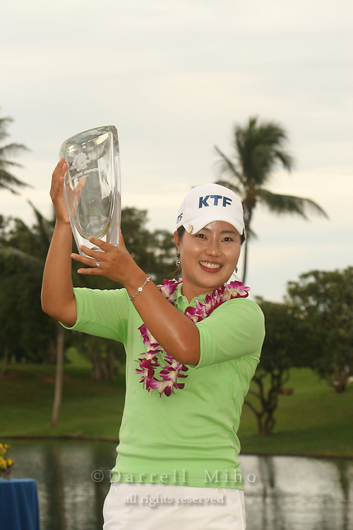Feb 24, 2006; Kapolei, HI, USA; Meena Lee holds up her trophy after winning the inaugural LPGA Fields Open at Ko Olina Resort...Photo Credit: Darrell Miho.Copyright © 2006 Darrell Miho
