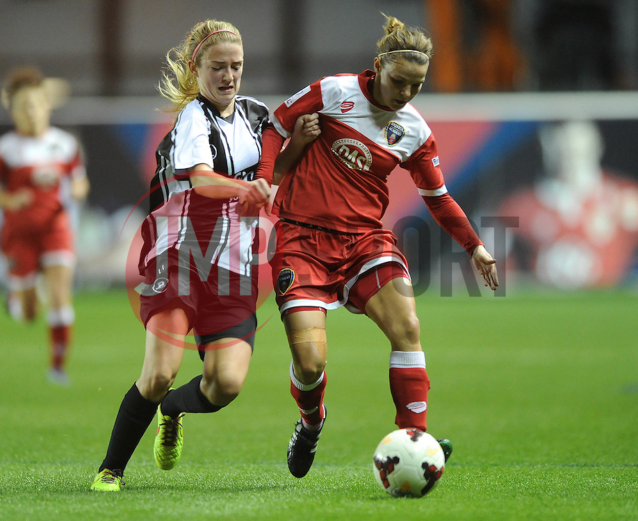 Bristol Academy Womens' Loren Dykes is challenged by Raheny United's Siobhan Killeen - Photo mandatory by-line: Dougie Allward/JMP - Mobile: 07966 386802 - 16/10/2014 - SPORT - Football - Bristol - Ashton Gate - Bristol Academy v Raheny United - Women's Champions League