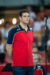 13.09.2014, Centennial Hall, Breslau, POL, FIVB WM, Kuba vs Bulgarien, 2. Runde, Gruppe F, im Bild Konstantinov Plamen bulgaria trener head coach // Konstantinov Plamen bulgaria trener head coach during the FIVB Volleyball Men's World Championships 2nd Round Pool F Match beween Cuba and Bulgaria at the Centennial Hall in Breslau, Poland on 2014/09/13. EXPA Pictures © 2014, PhotoCredit: EXPA/ Newspix/ Sebastian Borowski<br /> <br /> *****ATTENTION - for AUT, SLO, CRO, SRB, BIH, MAZ, TUR, SUI, SWE only*****