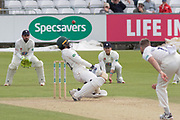 Hassan Azad ducks a bouncer from Nathan Rimmington during the Specsavers County Champ Div 2 match between Durham County Cricket Club and Leicestershire County Cricket Club at the Emirates Durham ICG Ground, Chester-le-Street, United Kingdom on 19 August 2019.