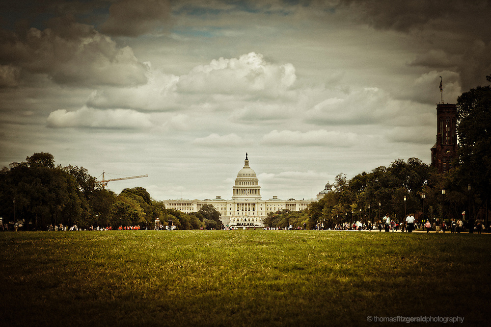 People gather on the National Mall in Washington DC