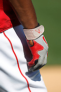 ANAHEIM, CA - APRIL  23:  A closeup photo of a batting glove at the game between the Boston Red Sox and the Los Angeles Angels of Anaheim on Saturday, April 23, 2011 at Angel Stadium in Anaheim, California. The Red Sox won the game in a 5-0 shutout. (Photo by Paul Spinelli/MLB Photos via Getty Images)