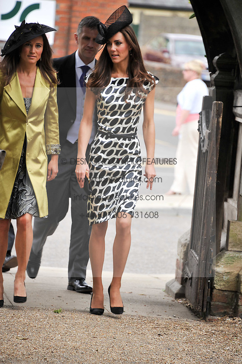 The Wedding of Sam Waley-Cohen to Miss Annabel (Bella) Ballin at St Michael &amp; All Angels Church, Lambourn, Berkshire on 11th June 2011.<br /> Picture Shows:-HRH THE DUCHESS OF CAMBRIDGE &amp; PIPPA MIDDLETON