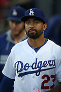 LOS ANGELES, CA - AUGUST 22:  Matt Kemp #27 of the Los Angeles Dodgers looks on from the dugout during the game against the New York Mets at Dodger Stadium on Friday, August 22, 2014 in Los Angeles, California. The Dodgers won the game 6-2. (Photo by Paul Spinelli/MLB Photos via Getty Images) *** Local Caption *** Matt Kemp