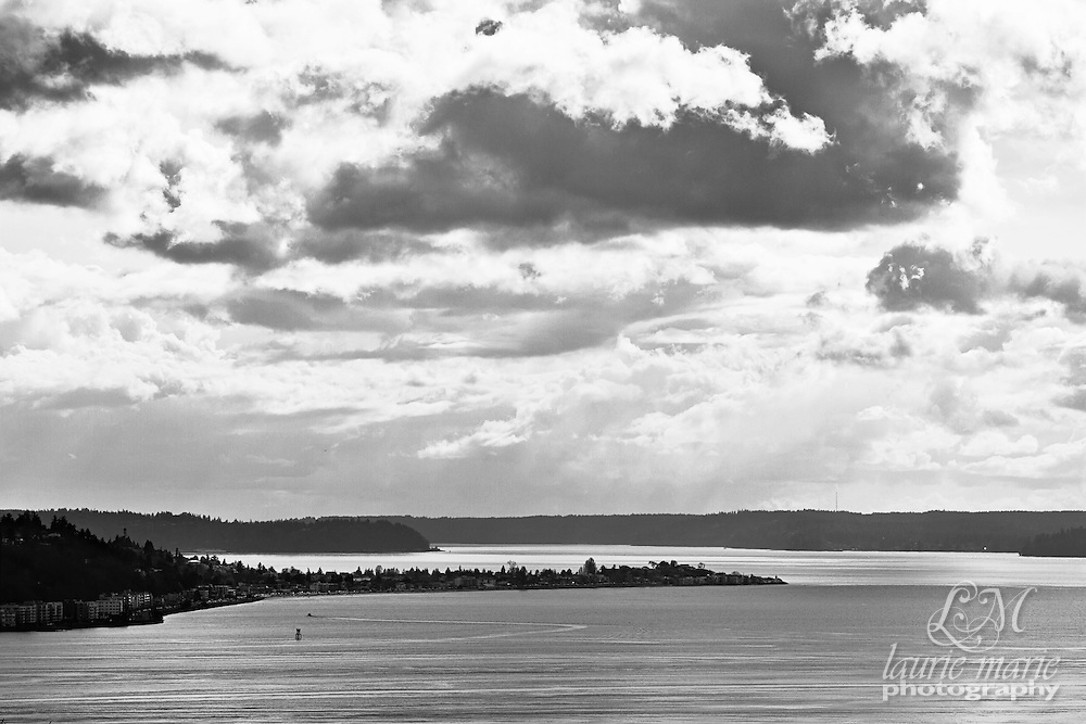 Puget Sound in Seattle in black and white