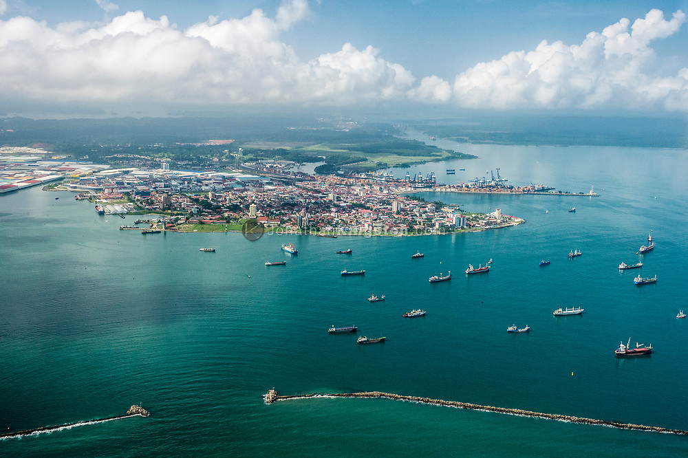 Aerial view of Limon Bay and the port of Colon, Panama.