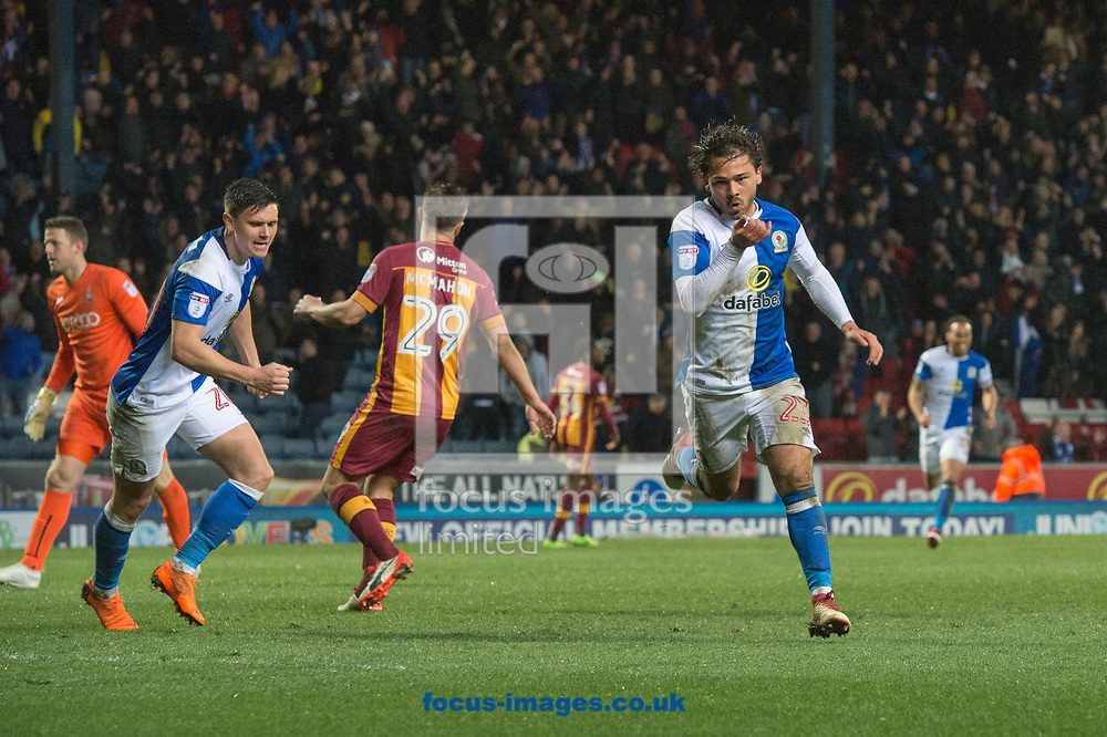 Bradley Dack of Blackburn Rovers celebrates after scoring  his sides first goal during the Sky Bet League 1 match at Ewood Park, Blackburn<br /> Picture by Matt Wilkinson/Focus Images Ltd 07814 960751<br /> 29/03/2018