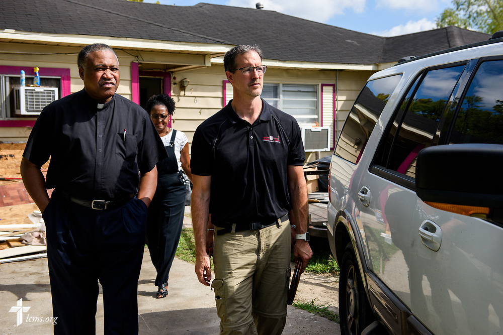 The Rev. Dr. Roosevelt Gray Jr., director of LCMS Black Ministry,  and the Rev. Dr. Steve Schave, director of LCMS Urban & Inner City Mission and director of LCMS Church Planting, survey a flood-damaged home on Tuesday, Sept. 26, 2017, in Houston. LCMS Communications/Erik M. Lunsford