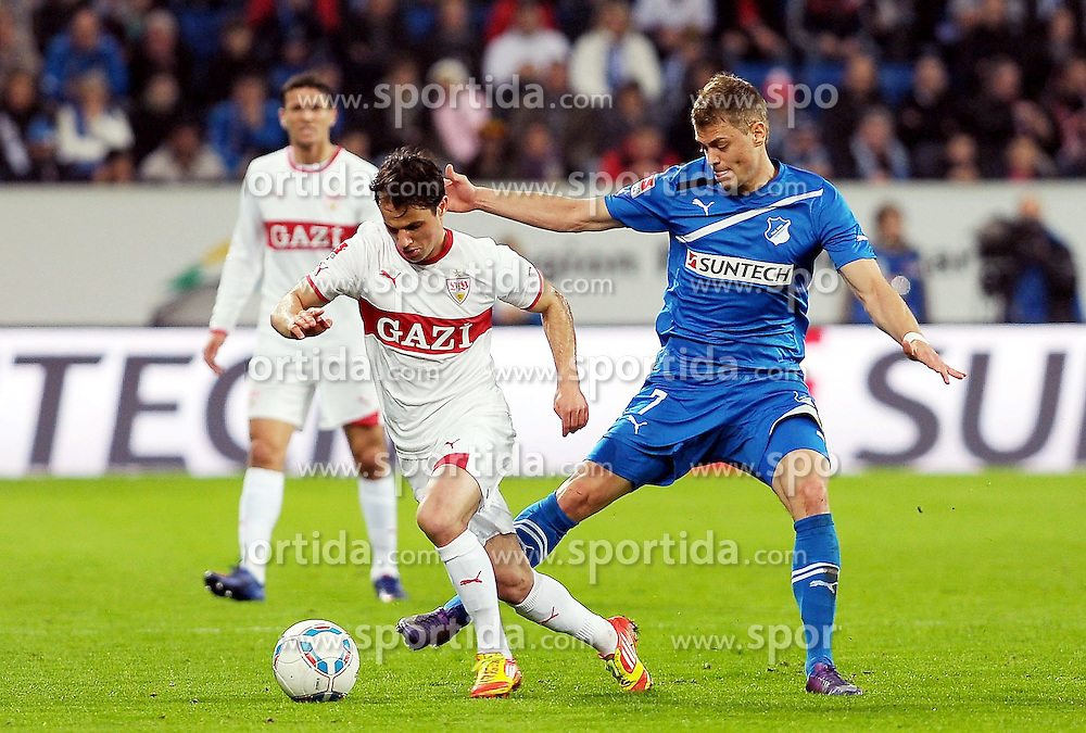 16.03.2012, Wirsol-Rhein-Neckar Arena, Hoffenheim, GER, 1. FBL, 1899 Hoffenheim vs VFB Stuttgart, 26. Spieltag, im Bild Tamas HAJNAL (VfB Stuttgart) im Zweikampf mit Boris Vukcevic (Hoffenheim #7) // during the German 'Bundesliga' Match, 26th Round, between 1899 Hoffenheim and VFB Stuttgart at the Wirsol-Rhein-Neckar Arena, Hoffenheim, Germany on 2012/03/16. EXPA Pictures © 2012, PhotoCredit: EXPA/ Eibner/ Ulrich Roth..***** ATTENTION - OUT OF GER *****