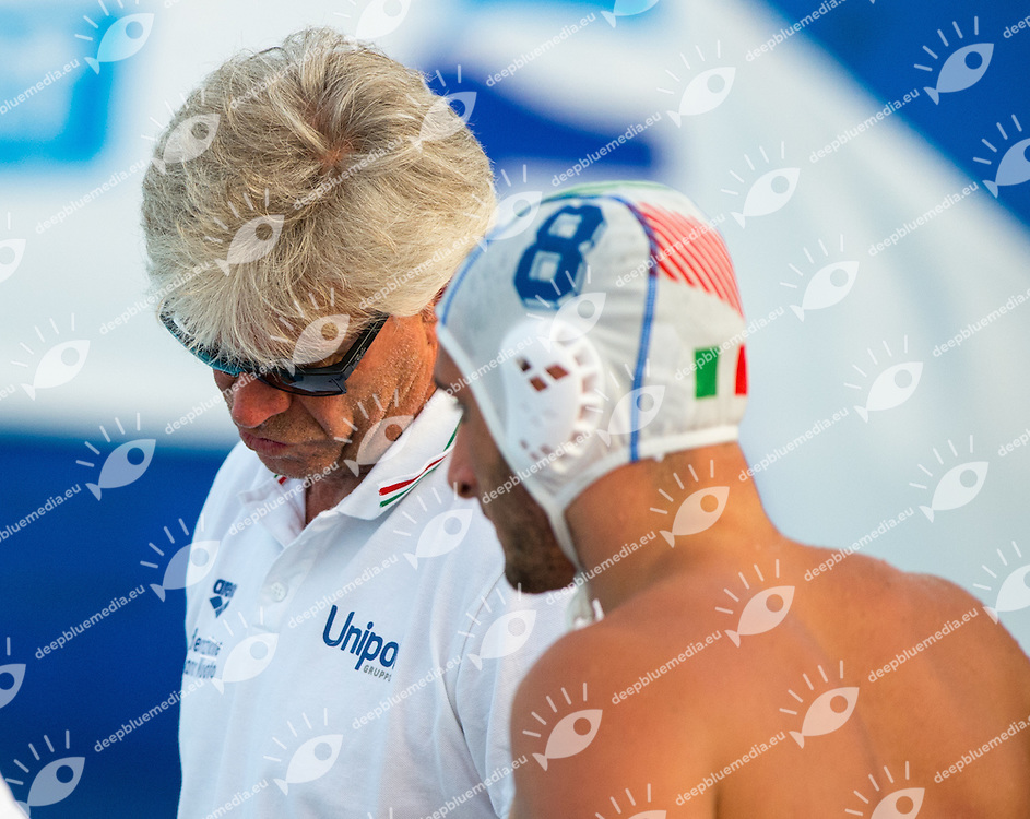 Coach PESCI Ferdinando BORRELLI Biagio ITA<br /> Water Polo Mediterranean Cup<br /> Men Water Polo Tournament Age Group born 1996<br /> Torneo Pallanuoto maschile nati 1996 e seguenti<br /> Polo Natatorio FIN Ostia3 - 6 July 2014<br /> Photo Diego Montano/Deepbluemedia