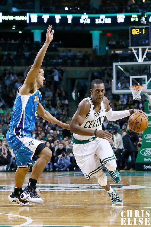 16 January 2013: Boston Celtics point guard Rajon Rondo (9) drives to the basket during the New Orleans Hornets 90-78 victory over the Boston Celtics at the TD Garden, Boston, Massachusetts, USA.