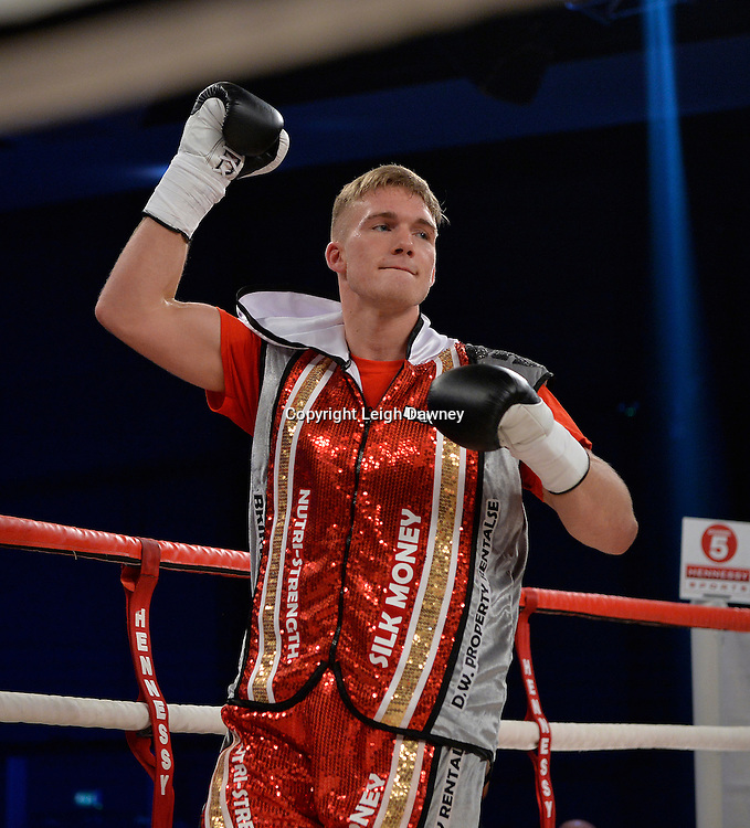 Nick Blackwell steps into the ring ahead of defeating Nathan King in a middleweight boxing contest at Glow, Bluewater, Kent on the 8th November 2014. Promoter: Hennessy Sports. © Leigh Dawney Photography 2014.