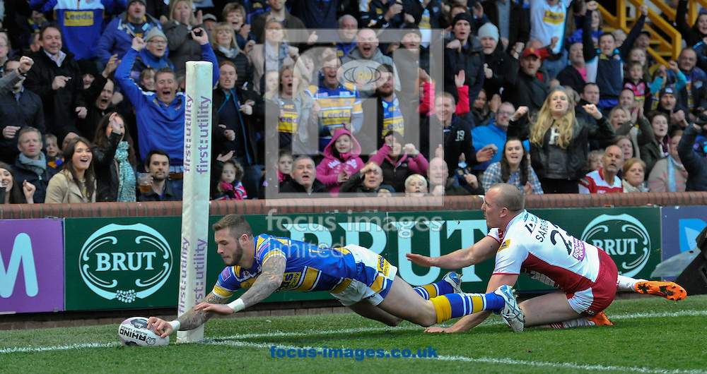 Zak Hardacker of Leeds Rhinos dives over to score during the First Utility Super League match at Headingley Carnegie Stadium, Leeds<br /> Picture by Richard Land/Focus Images Ltd +44 7713 507003<br /> 02/05/2014