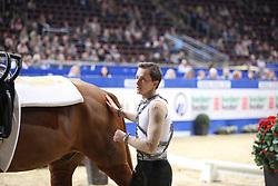 Kaiser, Daniel (GER), Down Under LR<br /> Dortmund - Signal Iduna Cup 2016<br /> Voltigieren FEI Weltcup Finale Herren<br /> © www.sportfotos-lafrentz.de / Stefan Lafrentz