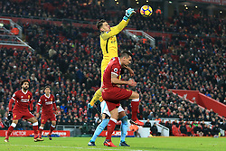 14 January 2018 - Premier League Football - Liverpool v Manchester City - Man City goalkeeper Ederson Moraes punches the ball clear - Photo: Simon Stacpoole / Offside