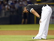 CHICAGO - JULY 26:  Jose Abreu #79 of the Chicago White Sox pauses during the game against the Chicago Cubs on July 26, 2017 at Guaranteed Rate Field in Chicago, Illinois.  The Cubs defeated the White Sox 08-3.  (Photo by Ron Vesely) Subject:   Jose Abreu