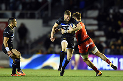 Rhys Priestland of Bath Rugby takes on the Toulon defence - Mandatory byline: Patrick Khachfe/JMP - 07966 386802 - 09/12/2017 - RUGBY UNION - Stade Mayol - Toulon, France - Toulon v Bath Rugby - European Rugby Champions Cup