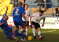 Photo: Paul Greenwood.<br />Macclesfield Town v Hereford United. Coca Cola League 2. 20/01/2007. Macclesfield's Adam Murray, left, challenges Hereford's new signing Steve Jennings