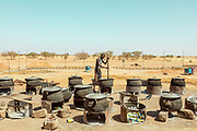 NIGER,, the refugee camp near the Agadez city. the open air kitchen