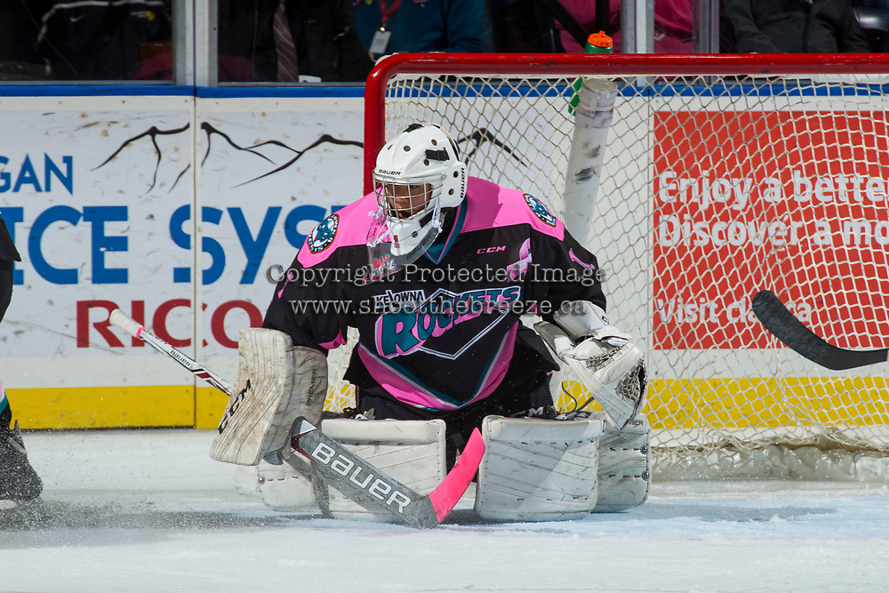 KELOWNA, CANADA - OCTOBER 21: James Porter #1 of the Kelowna Rockets defends the net in butterfly position against the Portland Winterhawks on October 21, 2017 at Prospera Place in Kelowna, British Columbia, Canada.  (Photo by Marissa Baecker/Shoot the Breeze)  *** Local Caption ***