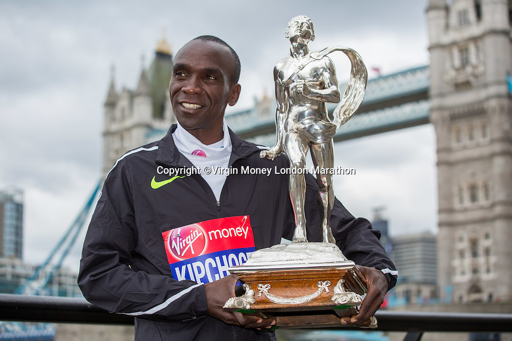 25th April 2016. Eliud Kipchoge KEN at the photocall and press conference for the winners of the Elite Men&rsquo;s Race and the Elite Women&rsquo;s Race at The Virgin Money London Marathon which took place Sunday 24th April 2016.<br /> <br /> Photo: Neil Turner for Virgin Money London Marathon<br /> <br /> For more information please contact media@londonmarathonevents.co.uk
