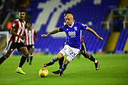 Birmingham City midfielder David Cotterill (23) looks to clear during the EFL Sky Bet Championship match between Birmingham City and Brentford at St Andrews, Birmingham, England on 1 November 2017. Photo by Dennis Goodwin.