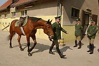 08 APR 2002, BERLIN/GERMANY:<br /> Reiter der neuen Bundesgrenzschutz Reiterstaffel nach der offiziellen Uebergabe der Berliner Polizei-Reiterstaffel an den Bundesgrenzschutz, Bundesgrenzschutzamt Berlin - Reiterstaffel, Grunewald<br /> INFO: Die Beamten sind noch bei der Polizei, koennen nach einer Uebergangsphase zum BGS wechseln und damit bei der Reitersraffel bleiben, oder in den konventionellen Polizeidienst wechseln<br /> IMAGE: 20020408-01-028<br /> KEYWORDS: Reiter, Pferd, Pferde, Grenzschutz, BGS,  Reiterstaffel, Horse, Übergabe