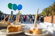 Participants in BobcaThon's cake walk contribute to breaking the world's record for the largest cake walk on October 5, 2016.