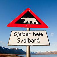 Norway, Svalbard, Spitsbergen Island, Polar Bear warning sign outside town of Longyearbyen
