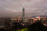 View of Taipei from Xiang Shan or Elephant Mountain with the iconic Taipei 101 tower dominating the skyline.