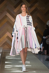 © Licensed to London News Pictures. 29/05/2014. London, England. Collection by Janni Vepsalainen. 30 students of the Royal College of Art's prestigious MA Fashion programme presented their final collections in  a runway show at the RCA building in Kensington. Photo credit: Bettina Strenske/LNP