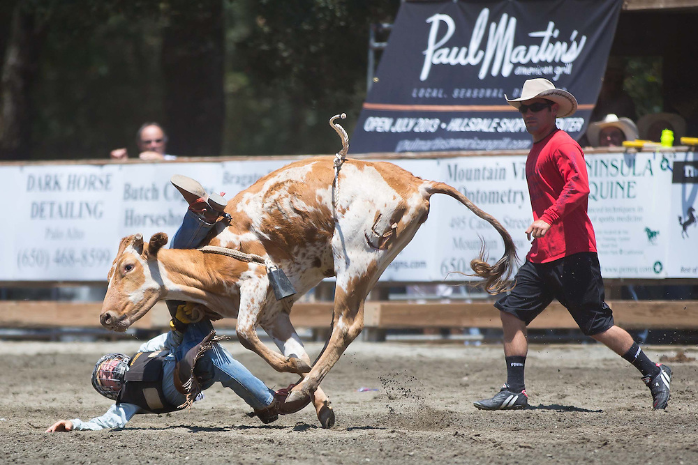 A young bull rider bets bucked off his bull during competition at the 63rd Annual Woodside Junior Rodeo